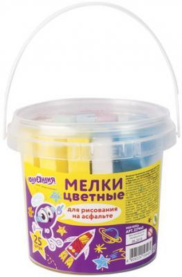 Мел цветной ЮНЛАНДИЯ, набор 25 шт., для рисования на асфальте, квадратный, пластиковое ведро, 227445