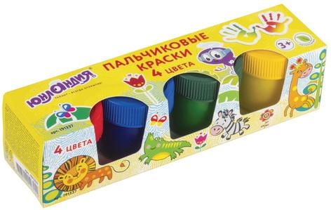 Купить Краски пальчиковые ЮНЛАНДИЯ, 4 цвета по 35 мл, в баночках, высшее качество, 191337, Прочие краски