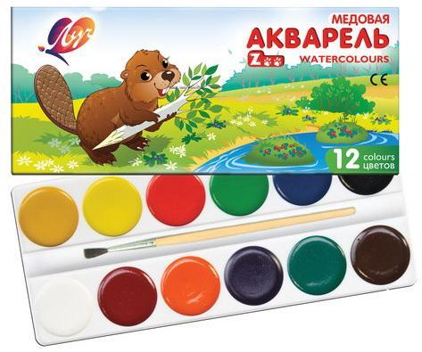 Краски акварельные ЛУЧ Zoo, 12 цветов, медовые, с кистью, картонная коробка, 22С1416-08 академия групп акварельные медовые краски трансформеры 12 цветов