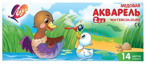 Краски акварельные ЛУЧ Zoo, 14 цветов, медовые, с кистью, картонная коробка, 22С1417-08 printio акварельные краски