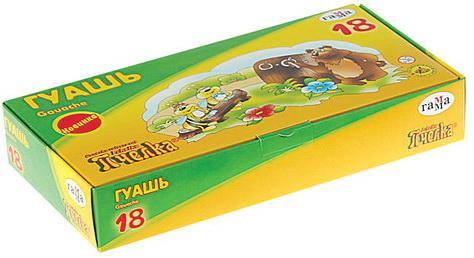 Гуашь ГАММА Пчелка, 18 цветов по 20 мл, без кисти, картонная упаковка, 221014_18 гамма гуашь пчелка 12 цветов х 20 мл 221014 12
