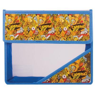 Папка для тетрадей А5, пластиковая на липучке, с рисунком на уголке, Кемпинг, 226555