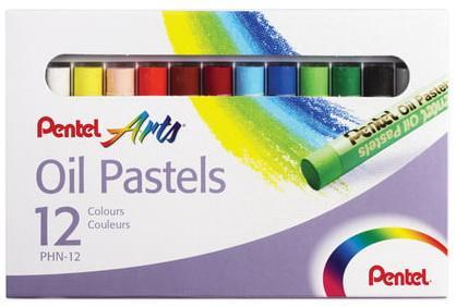 Пастель масляная художественная PENTEL Oil Pastels, 12 цветов, круглое сечение, картонная упаковка, PHN4-12