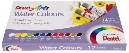 Краски акварельные художественные PENTEL Water Colours, 12 цветов, туба 5 мл, картонная упаковка, WFRS-12