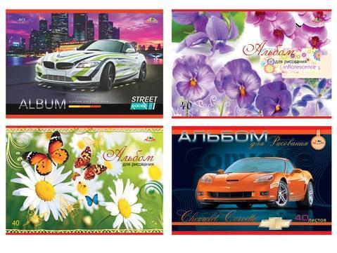 Альбом для рисования АППЛИКА Автомобили/Цветы A4 40 листов