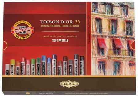 Пастель мягкая художественная KOH-I-NOOR Toison D'or, 36 цвета, круглое сечение, 8515036005KS карандаш чернографитный koh i noor toison d or 1970 h 1970 h
