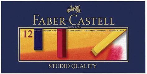 Пастель мягкая художественная FABER-CASTELL Gofa, 12 цветов, квадратное сечение, 128312