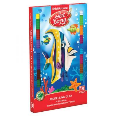 Пластилин классический ERICH KRAUSE, 18 цветов, 324 г, со стеком, картонная упаковка, 41765 erich krause набор для лепки пластилин на растительной основе undersea world 8 цветов по 35г