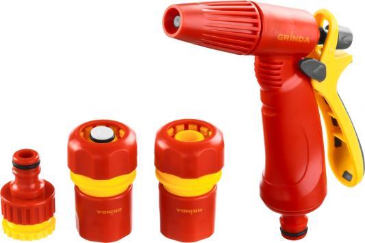 Набор GRINDA поливочный: Распылитель пистолетный с регулируемым соплом, соединитель 1/2, соединитель 1/2 с автостопом, адаптер внешний 1/2-3/4 соединитель колпачковый hyperline uy 2 0 4 0 9мм 100шт