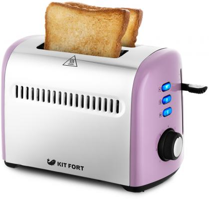 Тостер Kitfort КТ-2026-4 950Вт фиолетовый/серебристый цена и фото