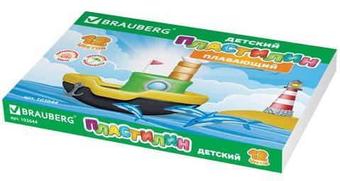 Набор пластилина BRAUBERG плавающий 12 цветов