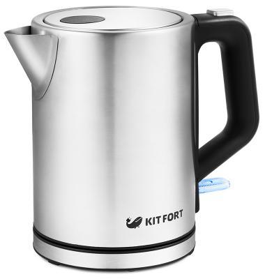 Чайник электрический KITFORT КТ-636 2200 Вт серебристый 1 л нержавеющая сталь чайник электрический supra kes 1839w черный 1 8 л 2200 вт