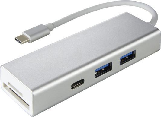 Разветвитель USB Type-C HAMA Aluminium 00135759 SD/SDHC microSD USB Type-C 2 х USB 3.0 серебристый leef access c microsd reader usb c