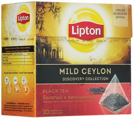 Чай LIPTON (Липтон) Mild Ceylon, черный, 20 пирамидок по 2 г, 20204431 чай lipton липтон pear chocolate черный с грушей шоколадом и мороженым 20 пирамидок по 1 6 г 21187947