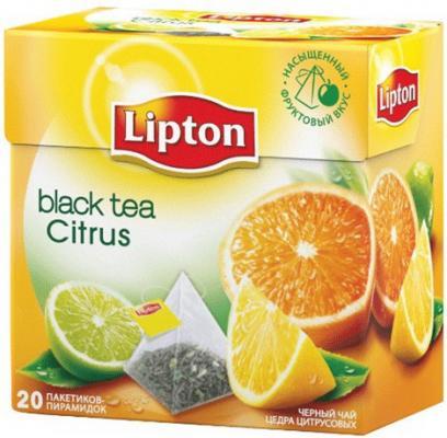 Чай LIPTON (Липтон) Citrus, черный с цедрой цитрусовый, 20 пирамидок по 2 г, 21187919 чай lipton липтон pear chocolate черный с грушей шоколадом и мороженым 20 пирамидок по 1 6 г 21187947