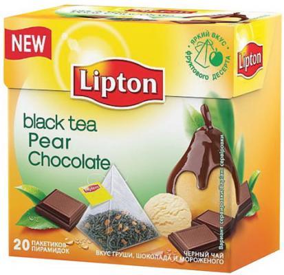 Чай LIPTON (Липтон) Pear Chocolate, черный с грушей, шоколадом и мороженым, 20 пирамидок по 1,6 г, 21187947 чай lipton липтон pear chocolate черный с грушей шоколадом и мороженым 20 пирамидок по 1 6 г 21187947