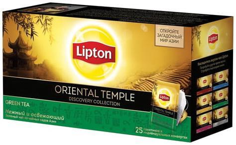 Чай LIPTON (Липтон) Discovery Green Oriental Temple, зеленый, 25 пакетиков по 2 г, 21187771 lipton липтон чай черный чай 25 пак богатый граф 37 5g рекламные и оборудование общего оборудования были отправлены