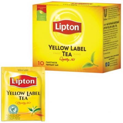 Чай LIPTON (Липтон) Yellow Label, черный, 10 пакетиков с ярлычками по 2 г, 65414860 чай lipton липтон pear chocolate черный с грушей шоколадом и мороженым 20 пирамидок по 1 6 г 21187947
