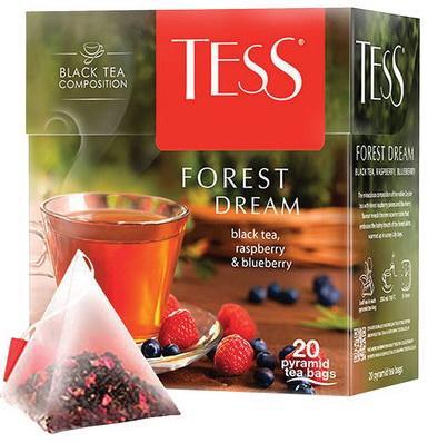 Чай TESS (Тесс) Forest Dream, черный с малиной и черникой, 20 пирамидок по 1,8 г, 0784-12 чай lipton липтон pear chocolate черный с грушей шоколадом и мороженым 20 пирамидок по 1 6 г 21187947
