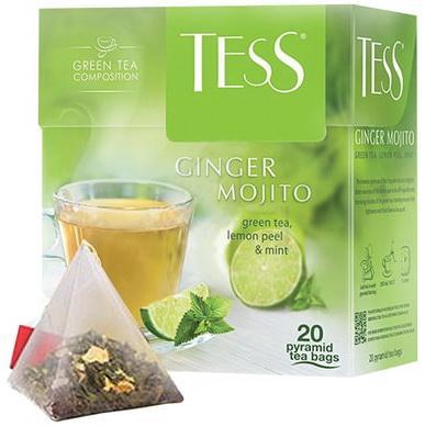 Чай TESS (Тесс) Ginger Mojito, зеленый с ароматом мяты и лайма, 20 пирамидок по 1,8 г, 0788-12 чай lipton липтон pear chocolate черный с грушей шоколадом и мороженым 20 пирамидок по 1 6 г 21187947
