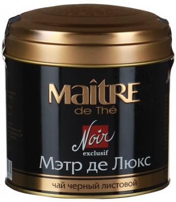 Чай MAITRE (Мэтр) Мэтр де Люкс, черный, листовой, жестяная банка, 100 г, бар165р майский чайная матрешка синяя черный листовой чай 30 г