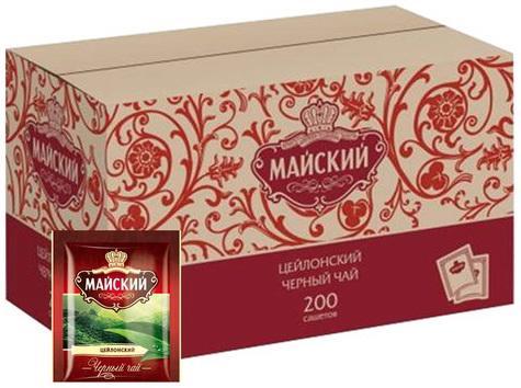 Чай МАЙСКИЙ черный, 200 пакетиков в конвертах по 2 г, 101009 майский чайная матрешка синяя черный листовой чай 30 г