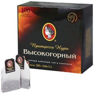 Чай ПРИНЦЕССА НУРИ Высокогорный, черный, 100 пакетиков по 2 г, 0201-18-А6 подарочный набор черного чая в пакетиках принцесса нури высокогорный 100 шт по 2 г кружка