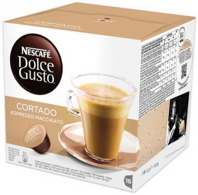 Капсулы для кофемашин NESCAFE Dolce Gusto Cortado, натуральный кофе эспрессо с молоком, 16 шт. х 6 г, 12121894 капсулы nescafe dolce gusto cortado 16шт 12121894