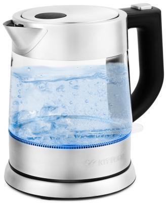 Чайник электрический KITFORT КТ-647 2200 Вт серебристый 1 л металл/стекло