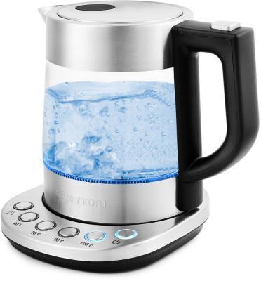 Чайник электрический KITFORT КТ-648 2200 Вт серебристый 1 л стекло чайник электрический supra kes 1839w черный 1 8 л 2200 вт