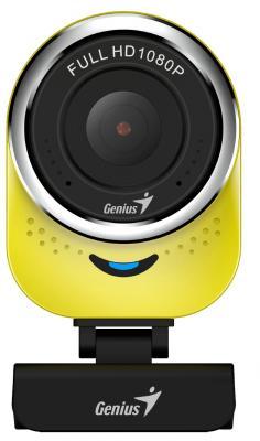 Веб-камера Genius QCam 6000 Yellow, 1080p Full HD, вращается на 360°, универсальное крепление, микрофон, USB установка веб камеры genius