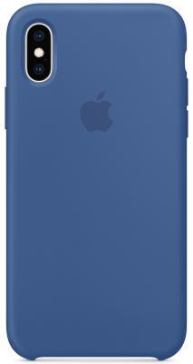 Накладка Apple Silicone Case для iPhone XS синий MVF12ZM/A цена и фото