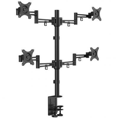 """цена на Кронштейн для 4-х мониторов KRON/ 10-32"""" макс. 100*100, струбцина, наклон -85?+15? поворот 360? макс. нагрузка 10кг"""