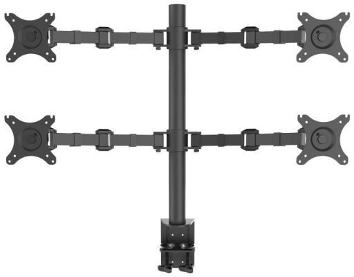 Фото - Кронштейн для 4-х мониторов ONKRON/ 10-32 макс. 100*100, струбцина, наклон -85?+90? поворот 360?, вылет от основания 0-385мм, вертикальное перемещение 200-660мм, макс. нагрузка 10кг струбцина энкор 20052