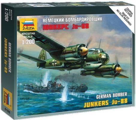 Модель для сборки САМОЛЕТ Бомбардировщик немецкий Ju-88A4, масштаб 1:200, ЗВЕЗДА, 6186 звезда сборная модель немецкий бомбардировщик ju 87b2