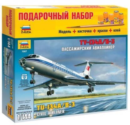 Фото - Авиалайнер ЗВЕЗДА Авиалайнер пассажирский Ту-134А/Б-3 1:144 пассажирский авиалайнер ту 134 а б 3 в кор 20шт