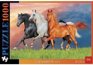 Пазл STANDARD, 1000 элементов, А2, Красивые лошади, 450х680 мм, 1000ПЗ2 13357, U176221 пазл hatber premium санторини 1000пз2 17563 1000 дет