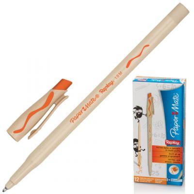 Ручка шариковая стираемая Paper Mate Replay оранжевый 1 мм шариковая ручка автоматическая paper mate replay синий 1 мм