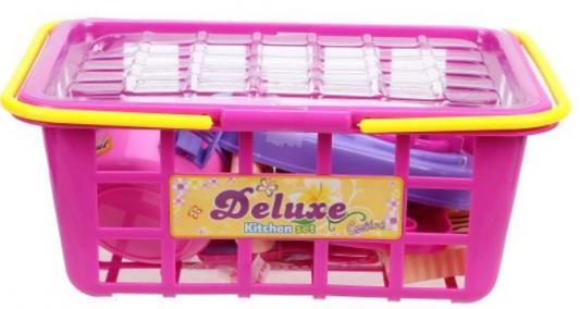Купить Набор посуды Наша Игрушка Набор посуды в корзинке, разноцветный, Игрушечная посуда