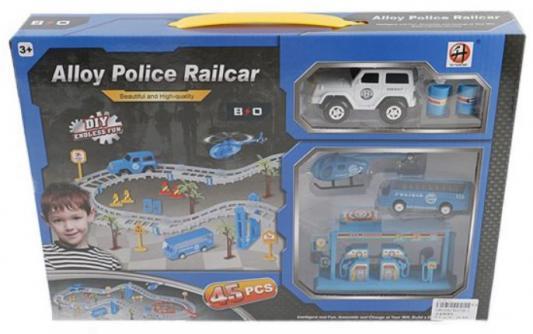 Автотрек Полиция, машина металл 2шт., вертолет 1шт., аксессуары, эл.пит.1*AA не вх.в компл.