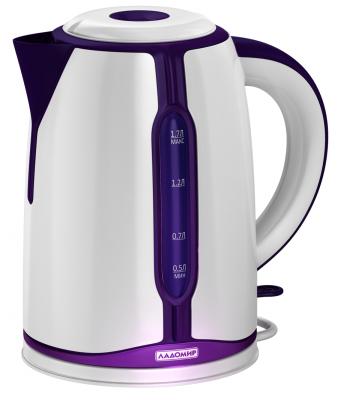 Чайник электрический Ладомир 328 2000 Вт белый фиолетовый 1.7 л пластик из ремонта чайник электрический ладомир 102 2000 вт серебристый 1 2 л нержавеющая сталь
