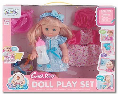 Кукла 35 см, пьет, писает, звук, аксесс.7 предм., в ассорт., кор.