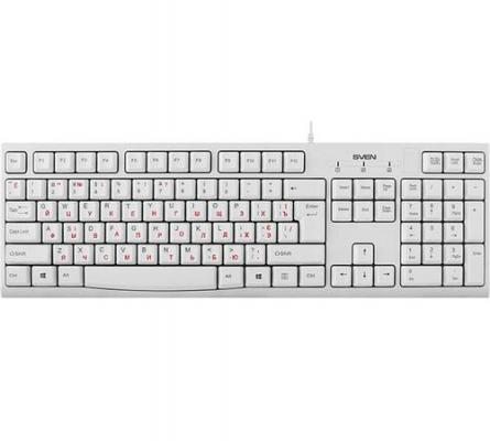 Клавиатура SVEN KB-S300 / USB / WIRED / White клавиатура sven kb c3050 белая 112 кл