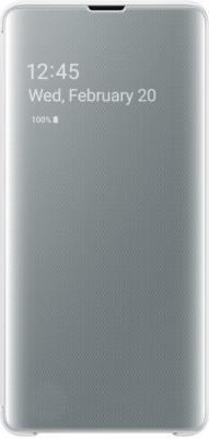 Чехол (флип-кейс) Samsung для Samsung Galaxy S10+ Clear View Cover белый (EF-ZG975CWEGRU) чехол флип кейс samsung для samsung galaxy note 9 clear view standing cover фиолетовый ef zn960cvegru