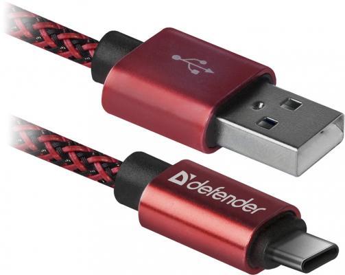 Фото - Кабель Type-C 1м Defender USB09-03T PRO круглый красный 87813 кабель type c 1м defender usb09 03t pro круглый белый 87815