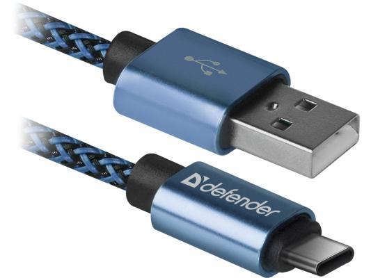 Фото - Кабель USB 2.0 Type-C 1м Defender USB09-03T PRO круглый синий 87817 кабель type c 1м defender usb09 03t pro круглый белый 87815