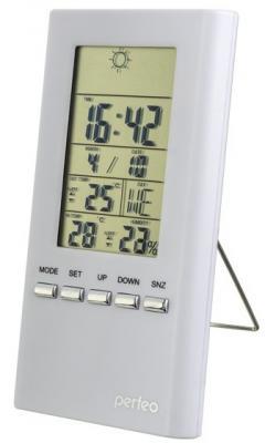 "Perfeo Часы-метеостанция ""Meteo"", белый,(PF-S3331F) время, темп., датчик ул. темп., влажность"
