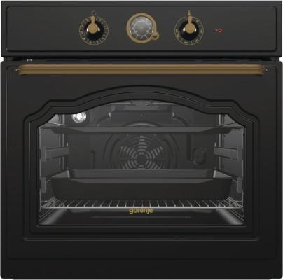 Встраиваемые электрические духовки GORENJE/ Classico, Духовой шкаф, Полезный объем: 71 л, Механическое управление, Электронный программатор с аналоговым дисплеем, Стандартный шарнир дверцы, Решетка, Направляющие: Съемные направляющие, Дверца CompactDoor: 2 стекла + 1 термослой, Пиролитическая эмаль SilverMatte, Габаритные размеры (вхшхг): 59,5 ? 59,7?54,7 см, Вес (брутто/нетто): 34,2 / 29,9 кг