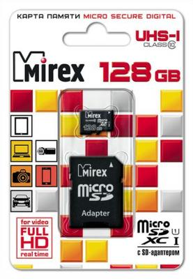 Фото - Флеш карта microSD 128GB Mirex microSDXC Class 10 UHS-I (SD адаптер) 13613-AD10S128 флеш карта microsd 512gb silicon power superior pro a1 microsdxc class 10 uhs i u3 colorful 100 80 mb s sd адаптер