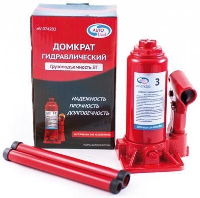Домкрат AUTOVIRAZH AV-074203 гидравлический 3 т бутылочный в коробке красный домкрат autovirazh av 076002 2т